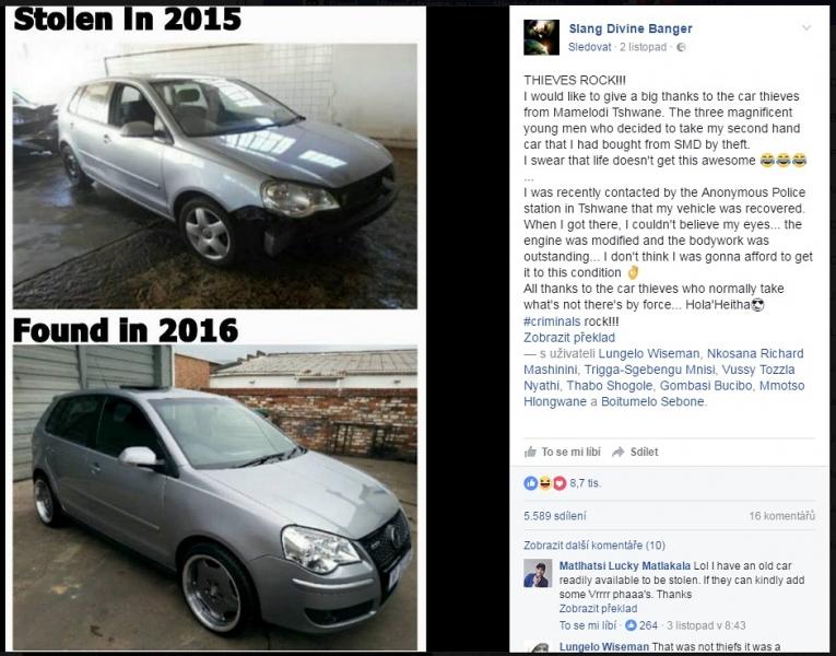 Ukradnute auto VW polo